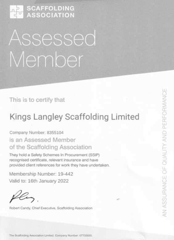 Scaffolding-association-certificate